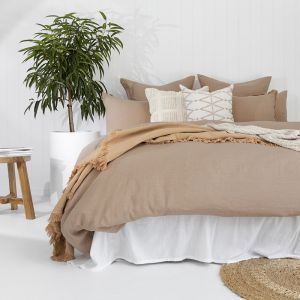 French Flax Linen Quilt Cover Set   Tea Rose