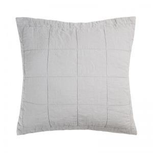 French Flax Linen Quilted European Pillowcase | Silver
