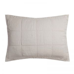 French Flax Linen Quilted Pillowcase | Pebble