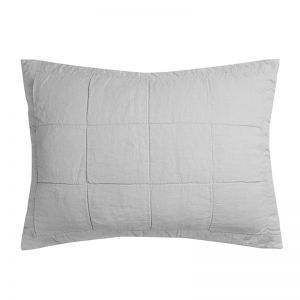 French Flax Linen Quilted Pillowcase | Silver