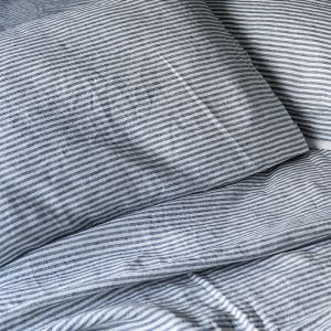 French Linen Navy + White Marine Stripe | Full Sheet Set by Bedtonic