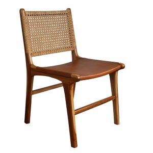 Frida Chair | Antique Tan Leather & Rattan | By Coco Unika