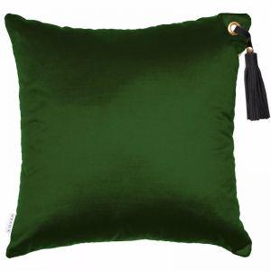 Frida Luxe Velvet Cushion | Forest | Black Leather Tassel | by Klovah