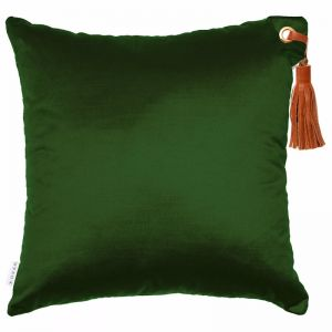 Frida Luxe Velvet Cushion | Forest | Tan Leather Tassel | by Klovah