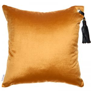 Frida Luxe Velvet Cushion | Gold | Black Leather Tassel | by Klovah