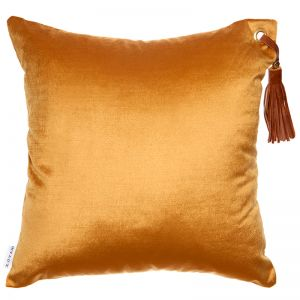 Frida Luxe Velvet Cushion | Gold | Tan Leather Tassel | by Klovah