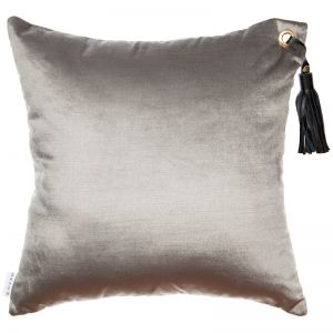 Frida Luxe Velvet Cushion | Grey | Black Leather Tassel | by Klovah