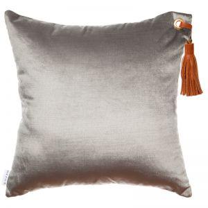 Frida Luxe Velvet Cushion | Grey | Tan Leather Tassel | by Klovah