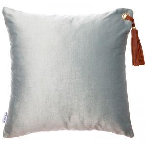 Frida Luxe Velvet Cushion | Icicle | Tan Leather Tassel | by Klovah