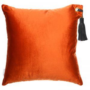 Frida Luxe Velvet Cushion | Ocre | Black Leather Tassel | by Klovah