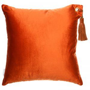 Frida Luxe Velvet Cushion | Ocre | Tan Leather Tassel | by Klovah