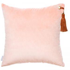 Frida Luxe Velvet Cushion | Rose Quartz | Tan Leather Tassel | by Klovah