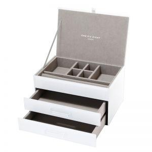 Gabriella Jewellery Box | Glass | White | Medium | One Six Eight London