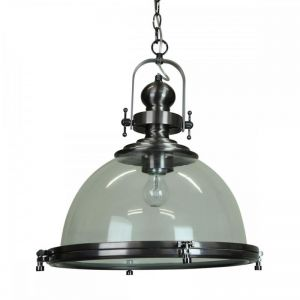 Gaia Industrial Clear Pendant Light | Antique Silver