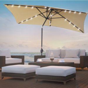 Garden Umbrella with In-Built Solar LED Lights | Beige