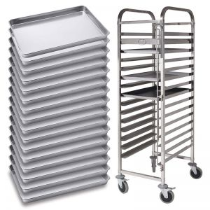 Gastronorm Trolley 16 Tier | Stainless Steel | Aluminum Tray