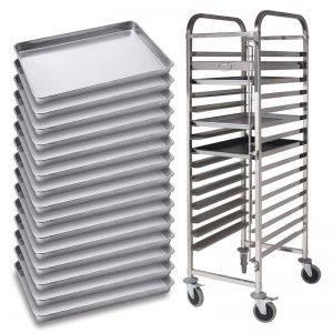Gastronorm Trolley with Baking Tray | 15 Tier | Stainless Steel