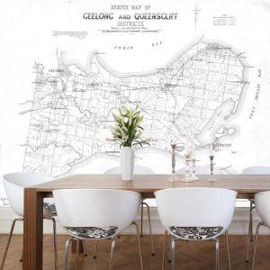 Geelong and Queenscliff Vintage Map | Wallpaper