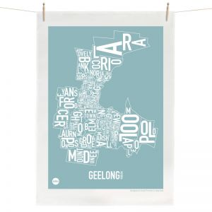 Geelong Map | Tea Towel by Burbia