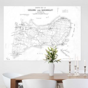 Geelong & Queenscliff Vintage Map | Stretched Canvas/Printed Panel