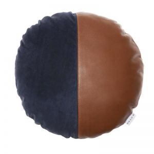 Gene Suede + Leather Cushion | Tan/Navy | by Klovah