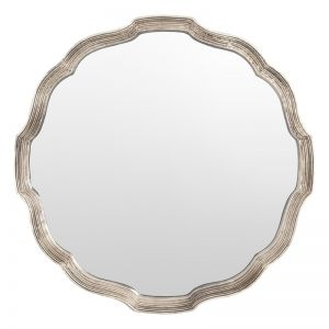 Genevieve Round Mirror with Silver Frame | Schots