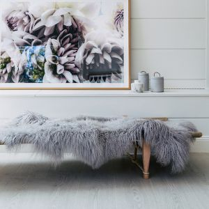 Genuine Mongolian Sheepskin Area Rug | Light Grey 160cm x 90cm