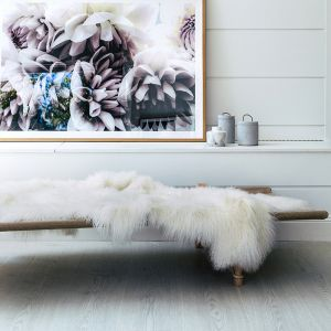 Genuine Mongolian Sheepskin Area Rug | White 160cm x 90cm