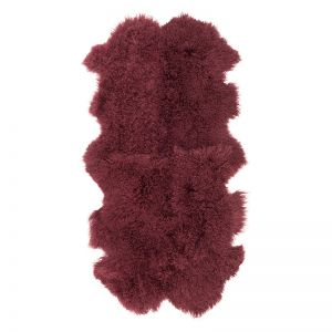 Genuine Mongolian Sheepskin Area Rug | Wine 160cm x 90cm