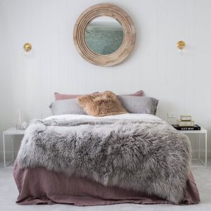 Mongolian Sheepskin Blanket | Light Grey