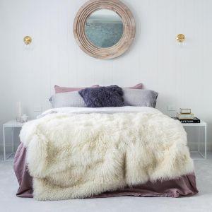 Genuine Mongolian Sheepskin Blanket | Natural White 180cm x 120cm