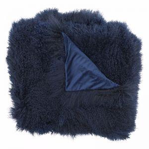 Genuine Mongolian Sheepskin Blanket   Navy 180cm x 120cm