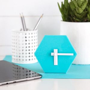 Geo Desk Clock | Aqua Blue