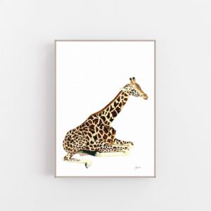 Geoffrey the Baby Giraffe by Pick a Pear | Canvas Wall Art