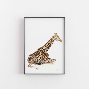 Geoffrey the Baby Giraffe Wall Art Print by Pick a Pear | Unframed