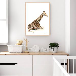 Geoffrey the Baby Giraffe Wall Art Print by Pick a Pear   Unframed