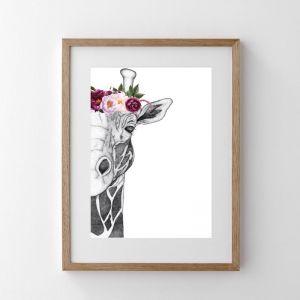 Georgi the Giraffe with Flower Crown   Pink
