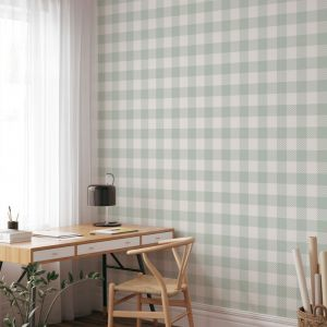 Gingham Check | Sage Green | Wallpaper
