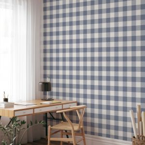 Gingham Check | Steel Blue | Wallpaper