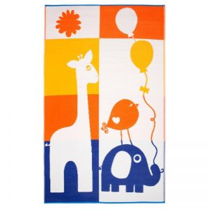 Giraffe and Elephant | Indoor Outdoor Kids Rug | Various Sizes