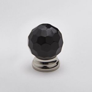 Glass Knob | Faceted Black