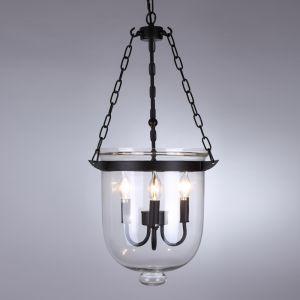Glass Lantern 3-Light Chandelier   Black Finish
