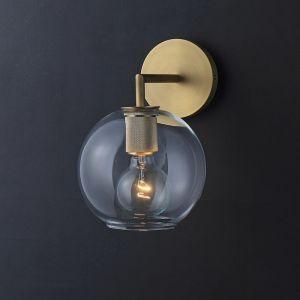 Globe Shade Single Wall Light   Clear & Gold