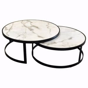 Glory Coffee Table Set | White Marble