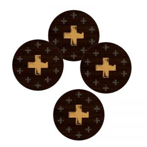 Gold Cross Round Coasters   Set of 4   CLU Living