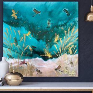 Gold Dragonflies Teal Seascape   Framed Art Print by Antuanelle