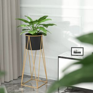Gold Metal Plant Stand with Black Pot Holder | 70cm