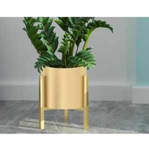Gold Metal Plant Stand with Pot Holder   30cm
