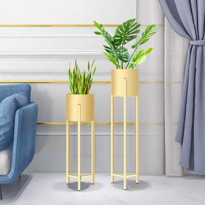 Gold Metal Plant Stand with Pot Holder   90cm