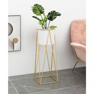 Gold Metal Plant Stand with White Pot Holder | 50cm
